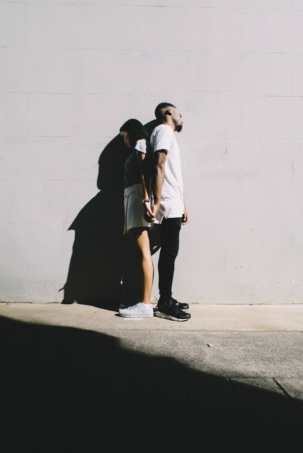 couple against the wall