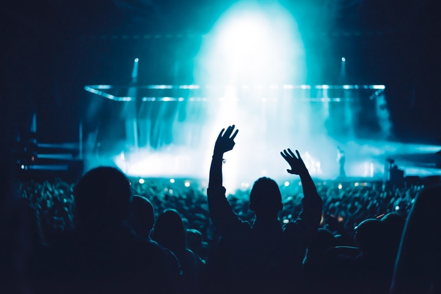 silhouette of people at a concert