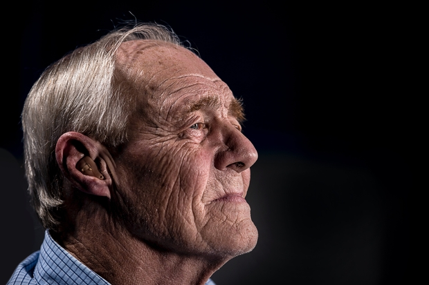 side view of old man's face