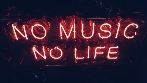 red neon sign music