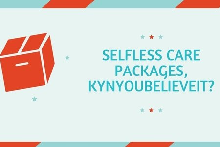 Selfless Care Packages, KynYouBelieveIt? Article Graphic. Made with Canva
