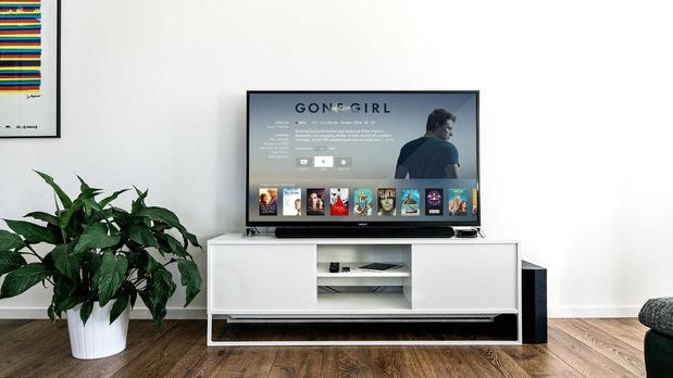 flat screen TV showing