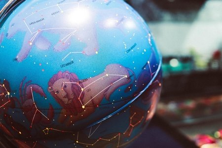 Globe with astrology signs and constellations on it