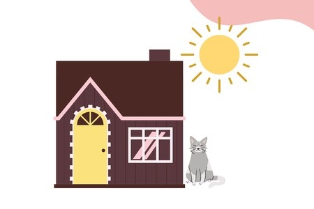 animated house with a cat and the sun