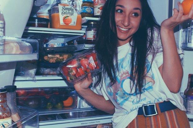 fridge and girl