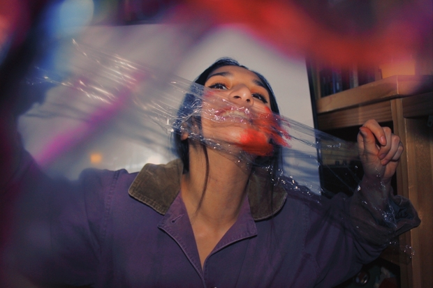 girl with Saran Wrap and color