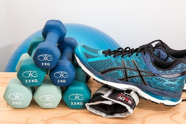 dumbbells and sneakers