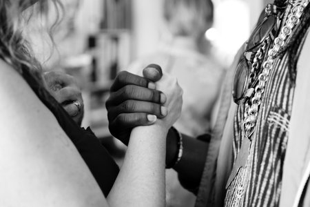 two women in unity, solidarity
