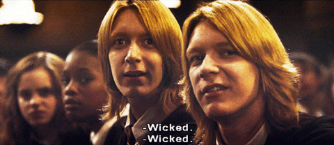 """Fred and George Weasley saying """"Wicked."""""""