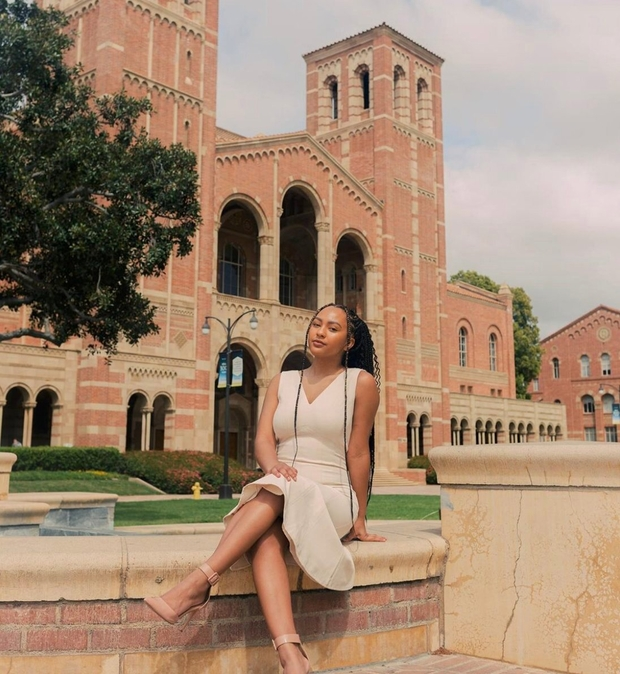 picture of friend at UCLA Royce Hall, newly elected UCLA student body president