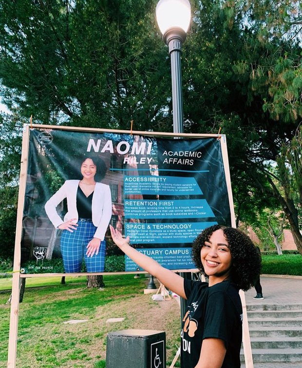 picture of Naomi Riley campaigning for UCLA Academic Affairs Commissioner last year