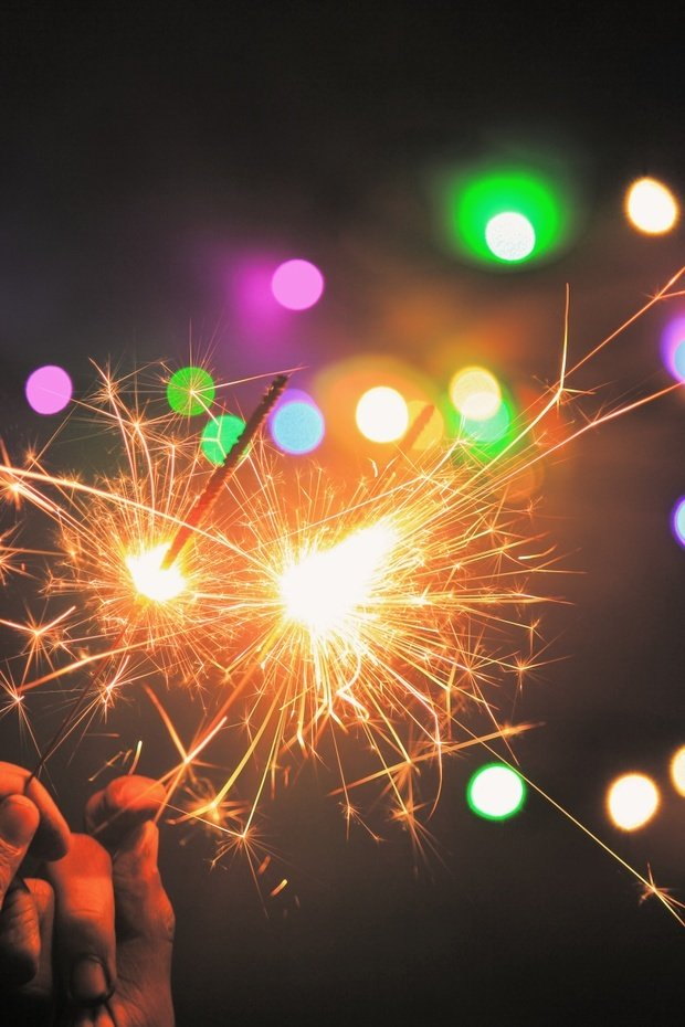 Colorful lights and sparklers