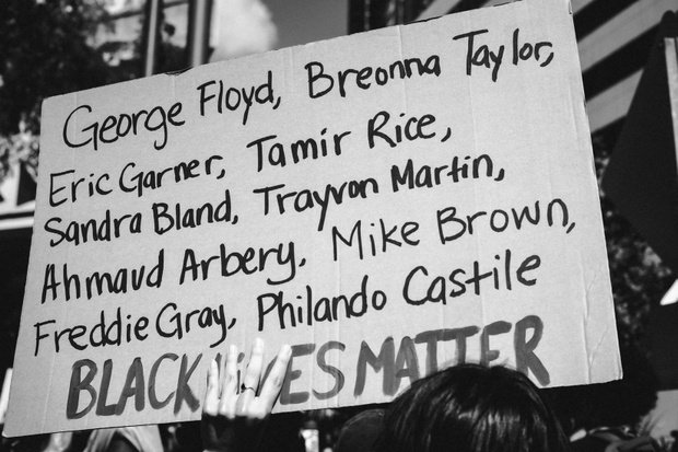 say their names black lives matter sign
