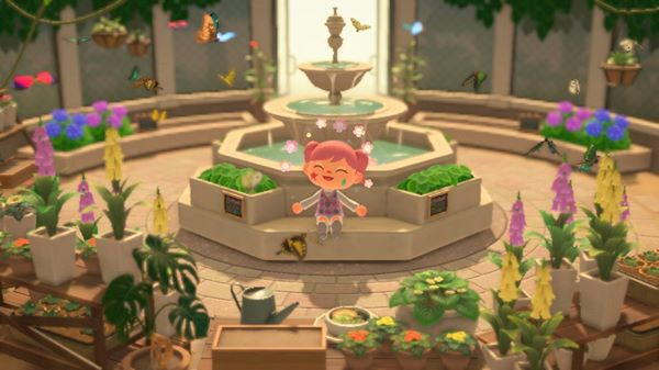 Animal Crossing New Horizons Sitting with Butterflies