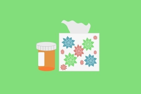 An illustration of a medicine bottle and tissue box on a green background.