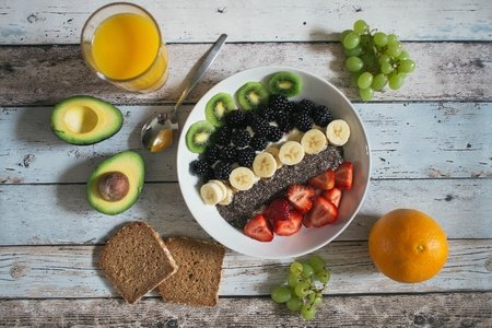 assorted fruit breakfast with toast
