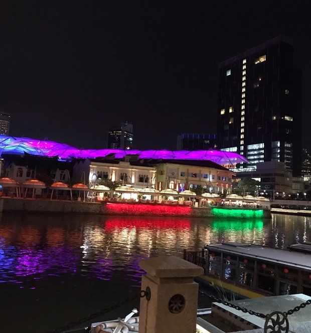 image of a dock lit up at night by red, green, and purple lights