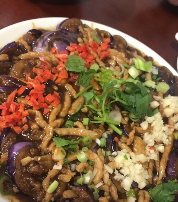 image of eggplant marinated and cooked in brown sauce