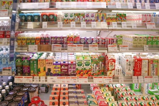 image of a shelf in the beverage isle of a Japanese convenience store