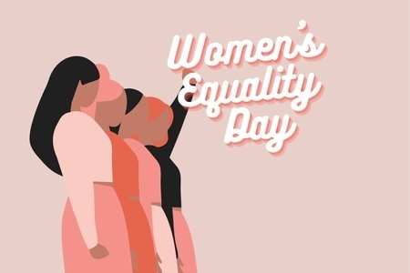 "women standing together and the words ""women's equality day"""