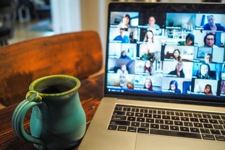 Zoom meeting with coffee