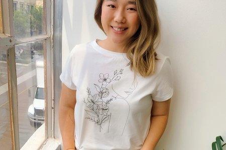 Carol Min wearing MAUBY floral tee