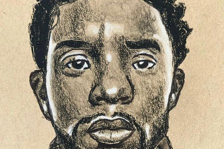 A drawing of Chadwick Boseman