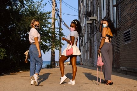 Three women posing for fashion shot