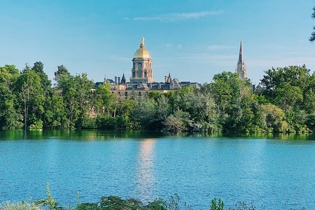 notre dame golden dome across lake