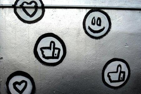 Emoji Graffiti on silver wall