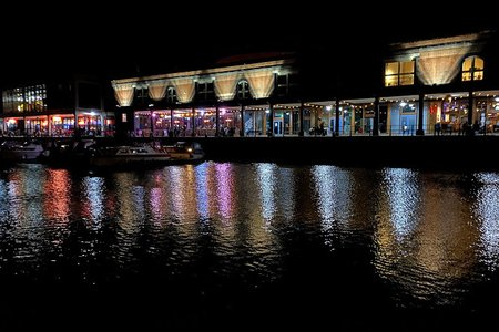 Bristol United Kingdom Harbourside by night reflections river avon