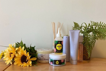 Skincare products and flowers