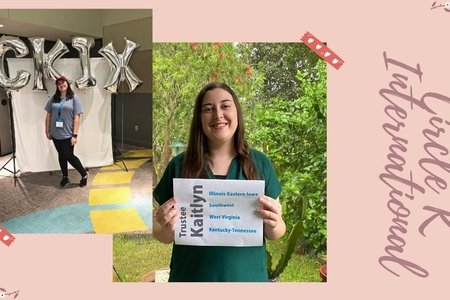 Woman posing in front of balloons that say CKIx and same woman posing with a piece of paper that has writing on it