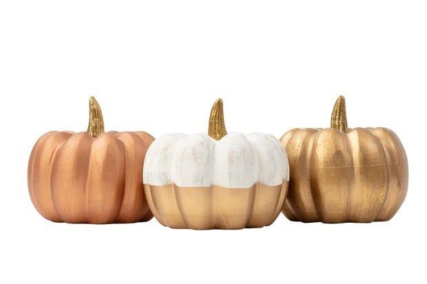 mini metallic pumpkin decor