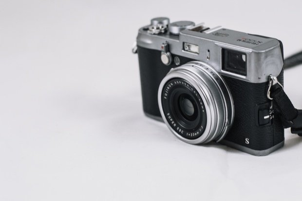 black and white photo of a camera