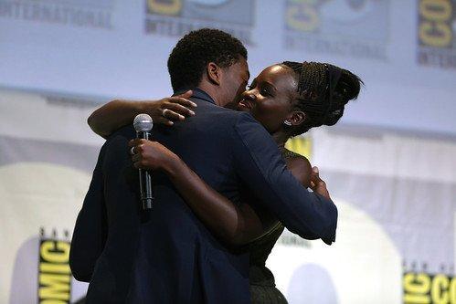 Chadwick Boseman and Lupita Nyong'o hugging