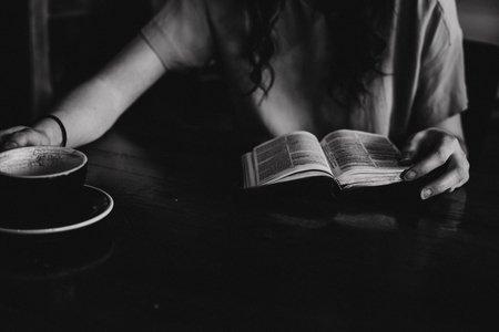 dark hair, reading, coffee, girl