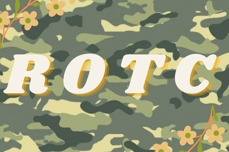camo background with lettering