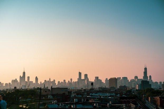 Chicago city landscape at sunrise