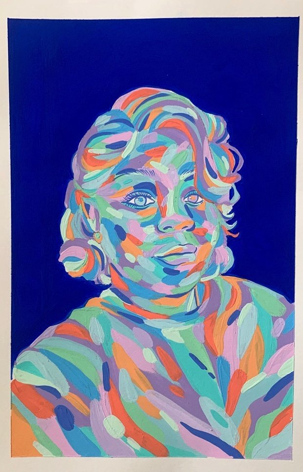 Colorful painting of Breonna Taylor with royal blue background.