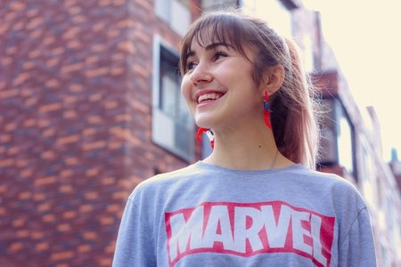 woman wearing marvel shirt