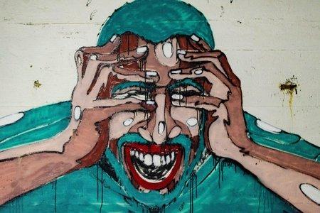 stressed man, graffiti art in Utö
