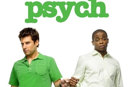 "A logo of the show ""Psych"" with the two main characters."