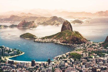 sunset overlooking brazil cityscape of Rio de Janeiro, Brazil