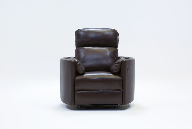 Rayna Brown Leather Power Swivel Glider Recliner With Built-In Battery - 360