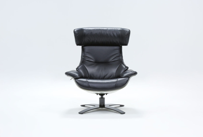Raiden Black Leather Reclining Swivel Chair - 360