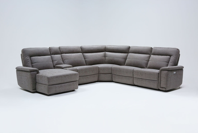 """Huntley Stone 6 Piece 117"""" Power Reclining Sectional With Left Arm Facing Chaise With USB - 360"""