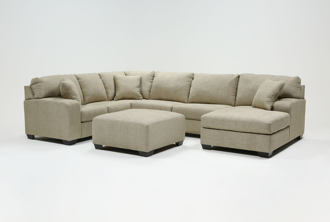 Bryton Jute 3 Piece Sectional With Right Arm Facing Chaise and Cocktail Ottoman - 360