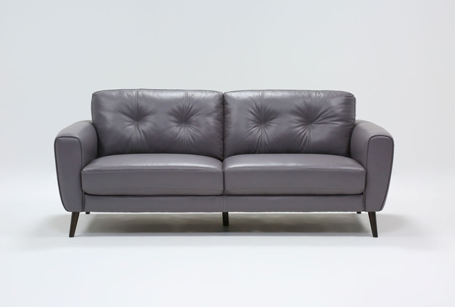 "Benita Sleet Leather 81"" Sofa - 360"