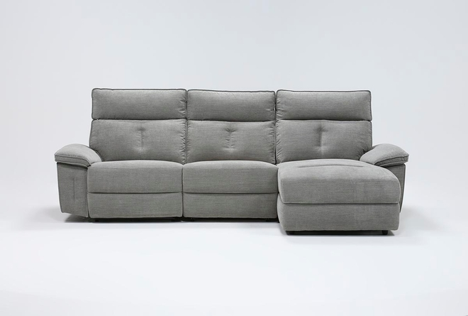 """Pippa Grey 3 Piece 111"""" Sectional With Right Arm Facing Chaise & Power Headrest - 360"""